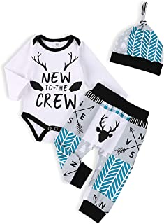 itkidboy Newborn Baby Boy Girl Clothes New to The Crew Romper+Pants+Hat Outfits Set