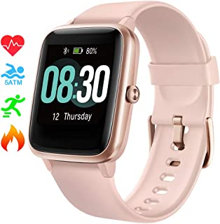 Smart Watch UMIDIGI Uwatch3 Fitness Tracker with 5ATM Waterproof All-Day Heart Rate and Activity Tracking, Sleep Monitoring, Smartwatch for Men Women Compatible with iPhone Android(Rose Gold)