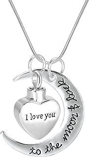Love in Heart Moon Engraving Cremation Jewelry Urn Locket Pendant-Stainless Steel Memorial-Ash Keepsake Pendant Necklace