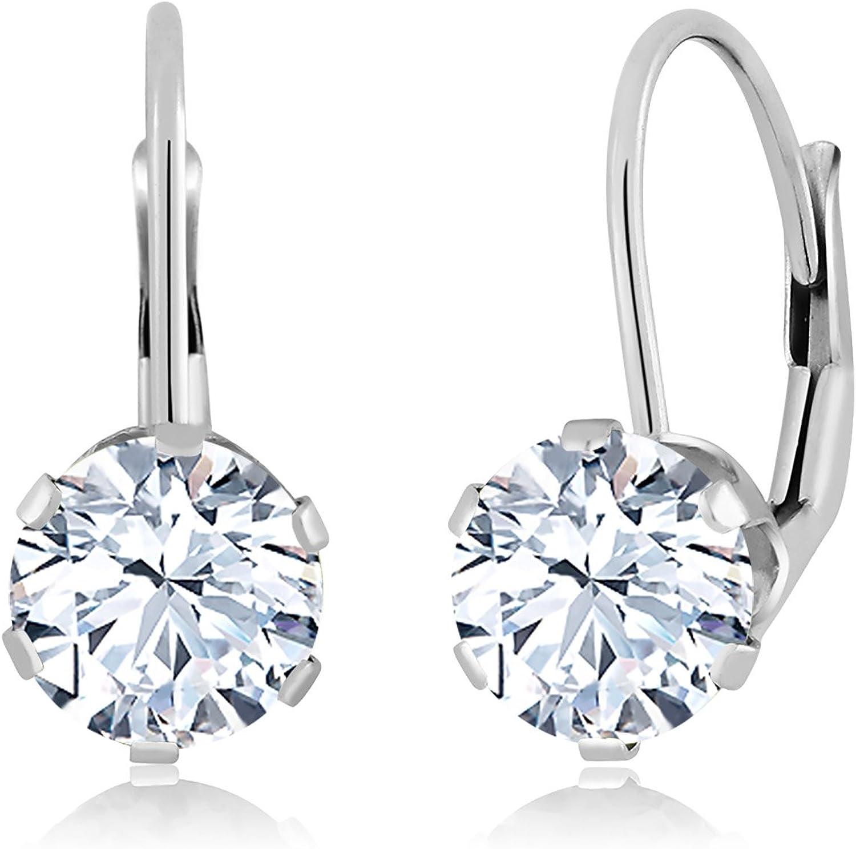 1.68 Ct Round White Zirconia 14K White gold Earrings