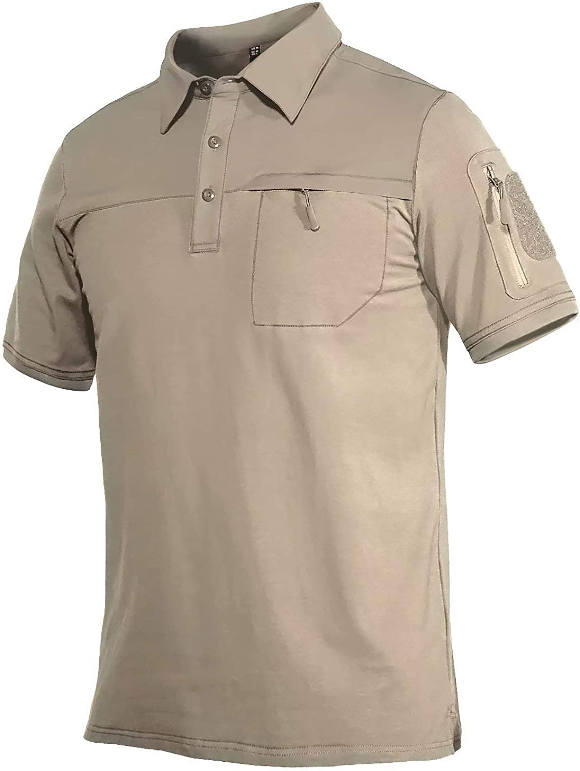 MAGCOMSEN Men's Polo Popular brand Shirts with 2 Very popular Loop Patches Zipper Pockets C