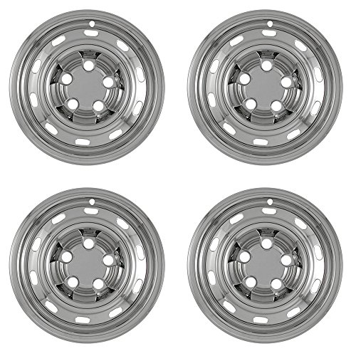 OxGord 17 inch Hubcap Wheel Skins for 2004-2012 Dodge Ram-(Set of 4) Wheel Covers- Car Accessories for 17inch Chrome Wheels- Auto Tire Replacement Exterior Cap Cover