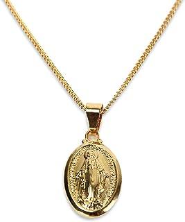 Sllaiss Collier M/édaillon en Argent Sterling pour Femmes Collier Plaqu/é Or Pendentif Vierge Marie Collier de Monnaie 18 /'/'
