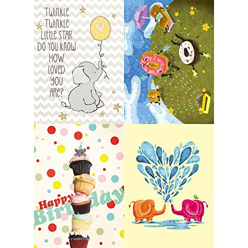 Tree-Free Greetings Playful Kids Birthday Card Assortment, 5 x 7 Inches, 8 Cards and Envelopes per Set (GA31547)