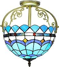 ZRABCD Lamp Hanglamp Kroonluchter Plafondlamp Blauwe Stijl Gebrandschilderd Glas Kap, E27 Semi-Flush Mount Vintage Antieke...