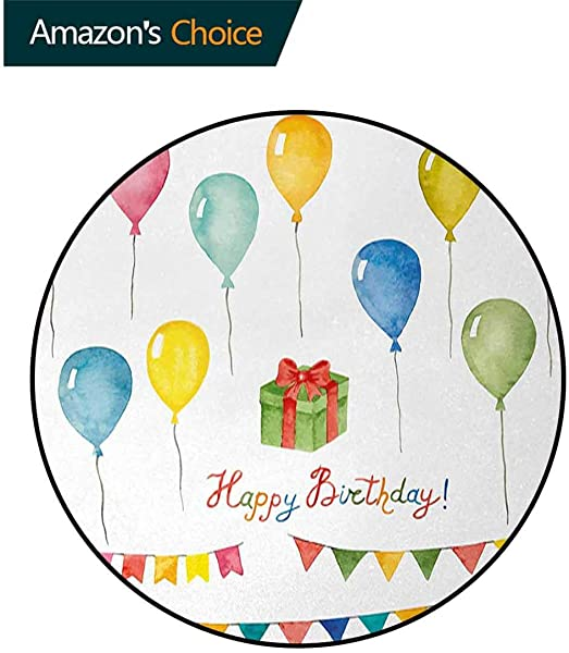 DESPKON HOME Birthday Anti Skid Area Rug Watercolor Set For Celebration Flags Surprise Box Balloons And Happy Best Wishes Green Soft Area Rugs Diameter 24 Inch Multicolor