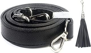 Beaulegan Purse Strap Replacement - Microfiber Leather - 59 Inch Long Adjustable for Crossbody Shoulder Bag - 0.8 Inch Wide, Black/Silver