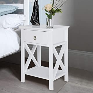 Bonnlo White End Table Nightstand with Drawer and Shelf for Storage