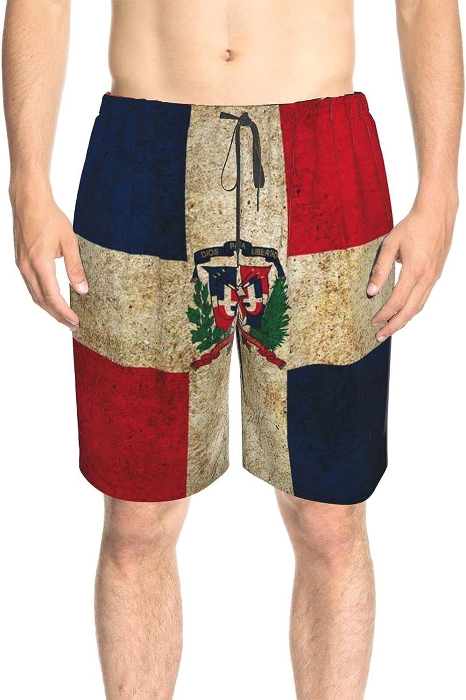 JINJUELS Men's Swim Trunks Republica Dominicana Flag Beach Board Shorts Drawstring Elastic Swimwear Beach Shorts with Pockets