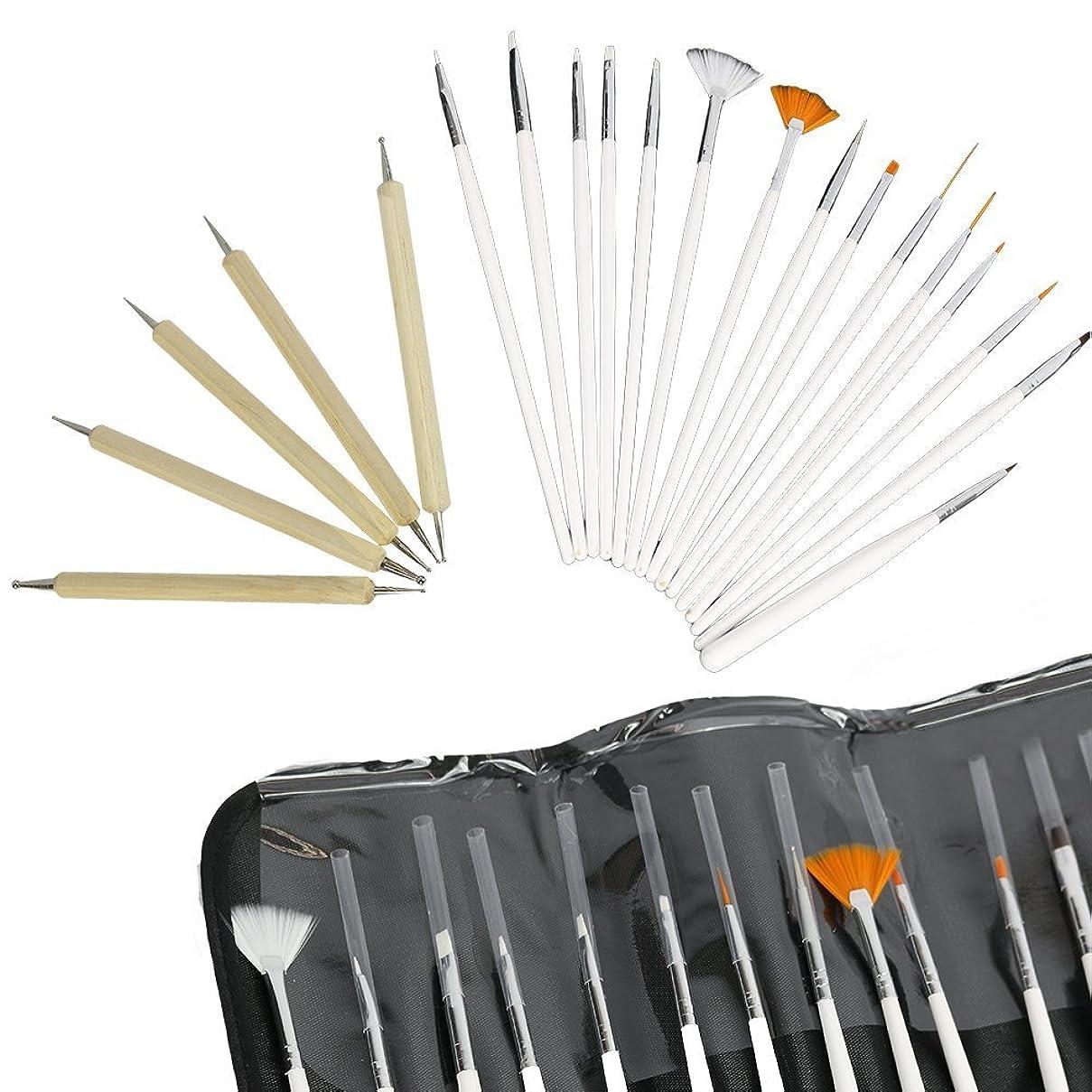 Yimart 20本セットネイルブラシ ネイル筆 ネイルアートブラシセット ドットペン ジェルネイル ネイルアートキット ネイルアートネイル用品道具 筆 絵具 デコ アート用ブラシ アクリル絵の具にも最適 高級木製