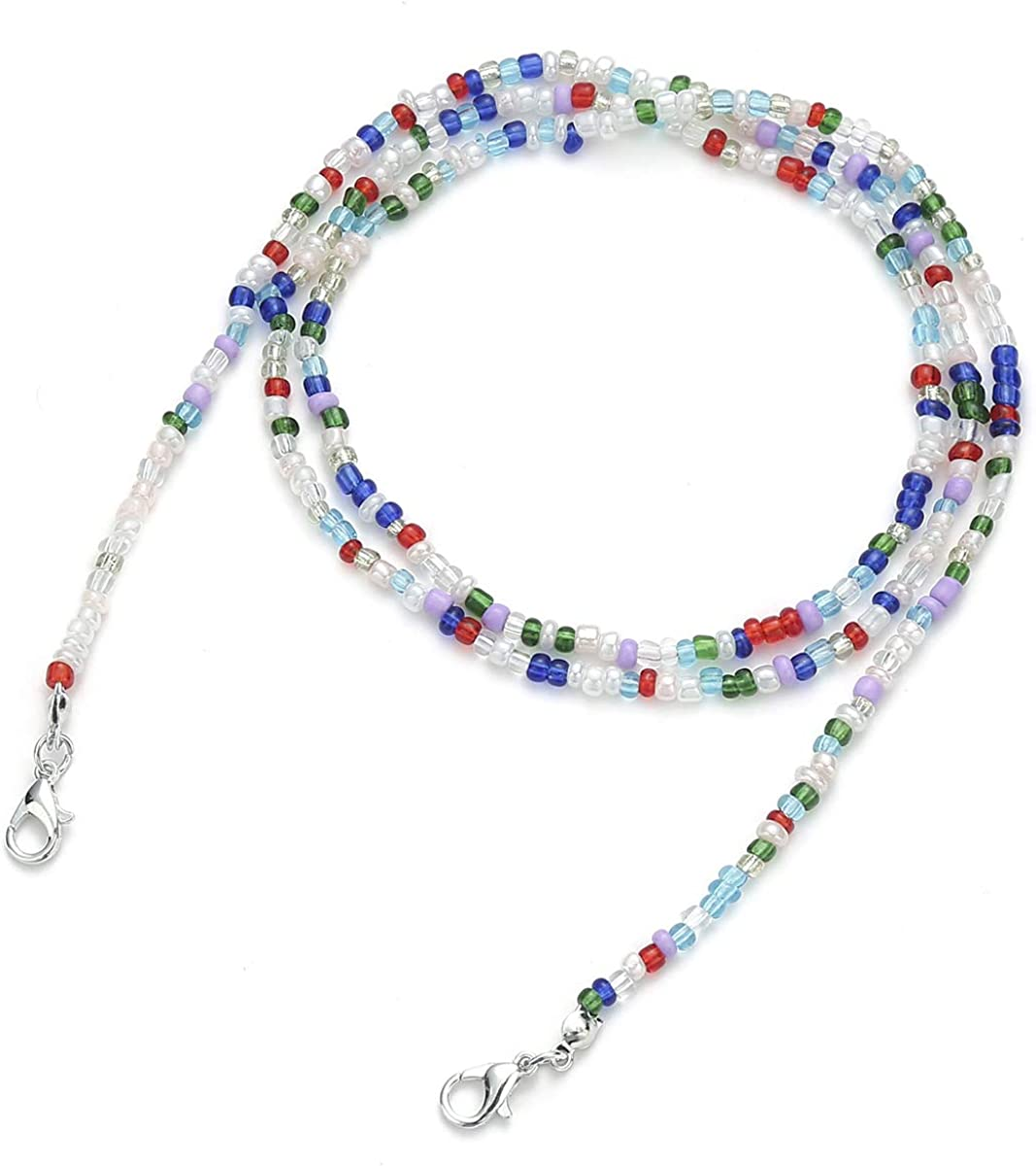Glaring 4-6 Pack Face Mask Lanyard Chain Strap Colorful Beads Chain Holder for Women Kids Comfortable Around The Neck