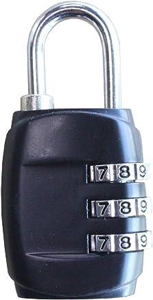 "MyMAX All Weather Zinc Alloy Cut Proof 3-Digit Resettable Keyless Combination Lock (2.3""x1.2""x0.5"", 1 Pack, Black - CJSJ)"