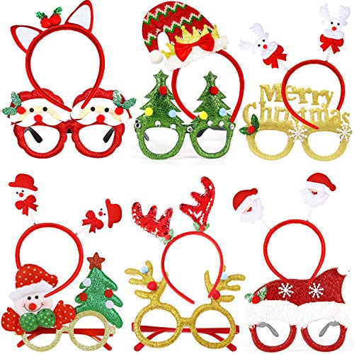 Christmas Glasses Frame and Headbands - 12 Pieces Glittered Creative Funny Eyewear and Cute Hair Hoop Decoration Accessories Giftset for Xmas Party, Holiday Favors, Assorted Styles