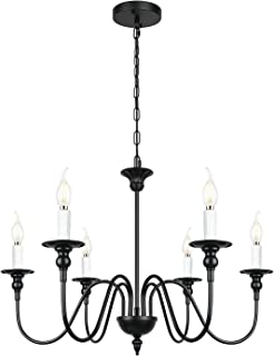 Farmhouse Black 6-Light Chandelier Industrial Rustic Candle Pendant Lighting for Kitchen Island Living Dinning Room Bedroom Foyer