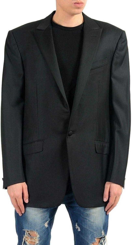 Versace Gianni Men's 100% Wool Black One Button Blazer Sport Coat US 42 IT 52