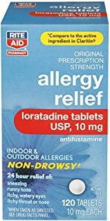 Rite Aid 24 Hour Loratadine Allergy Relief Tablets - 10 mg - 120 Count - Non-Drowsy Allergy Pills - Non-Drowsy Allergy Medicine