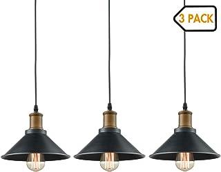 Dazhuan Ceiling Light 3-Lights Pendant Metal Hanging Kitchen Farmhouse Industrial Lighting Fixture 3 Pack