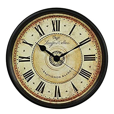 Wall Clock, JUSTUP 12 inch Black Wall Clock European Style Retro Vintage Clock Non - Ticking Whisper Quiet Battery Operated with HD Glass Easy to Read for Indoor decor (Black 12')