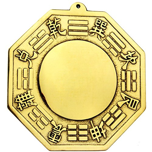 Chinese Feng Shui Brass Convex Bagua Mirror 4.5 inch