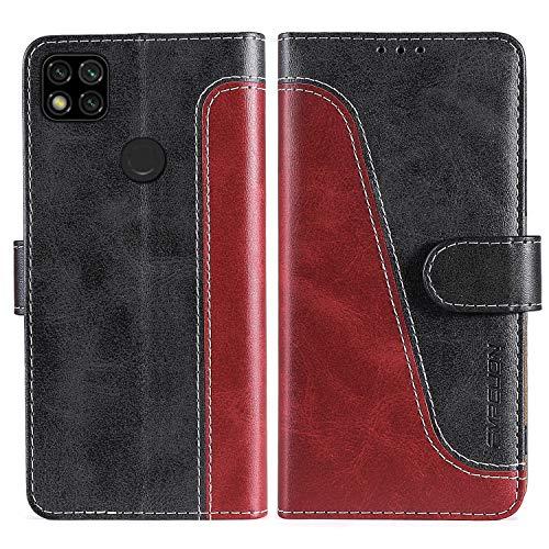 FMPCUON Handyhülle für Xiaomi Redmi 9C Hülle Leder,Premium Klapphülle Handytasche Flip Hülle Handy Hüllen Schutzhülle für Redmi 9C,Rot/Schwarz