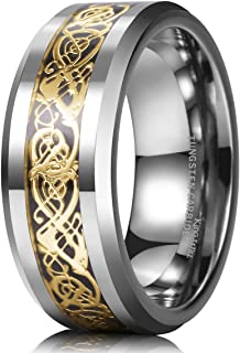 Dragon 8mm Mens Celtic Dragon Tungsten Carbide Wedding Band Ring Black/Gold/Rose Gold/Blue/Opal/Green
