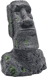Amosfun Isla de Pascua Piedra Cabeza de Regalo de Pascua Antigua Estatua Artificial Acuario Adornos de Tanque de Peces Cueva Rocalla Decoración de Paisajes Decoración de Fiesta de Pascua Tamaño L