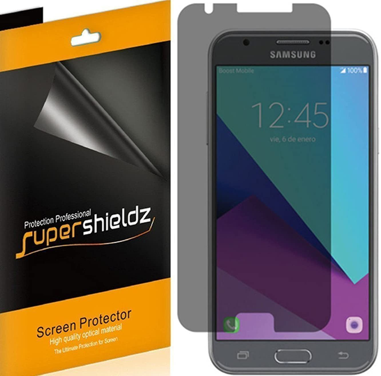 [2 Pack] Supershieldz- Privacy Anti-Spy Screen Protector Shield for Samsung Galaxy J3 Mission -Lifetime Replacement