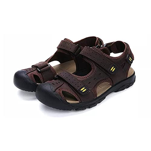 94bce1495ec9 Asifn Sports Athletic Sandals Men Closed Toe Summer Sports Casual Fisherman  Leather Beach Shoes Hiking Outdoor