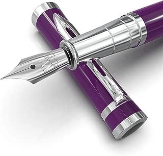 Wordsworth & Black Fountain Pens Set-[Velvet Purple]-Medium Nib-Journaling & Calligraphy-Smooth Writing Pen- 6 Free Ink Cartridges & Ink Refill Converter-Luxury Gift Case-Perfect for Men & Women