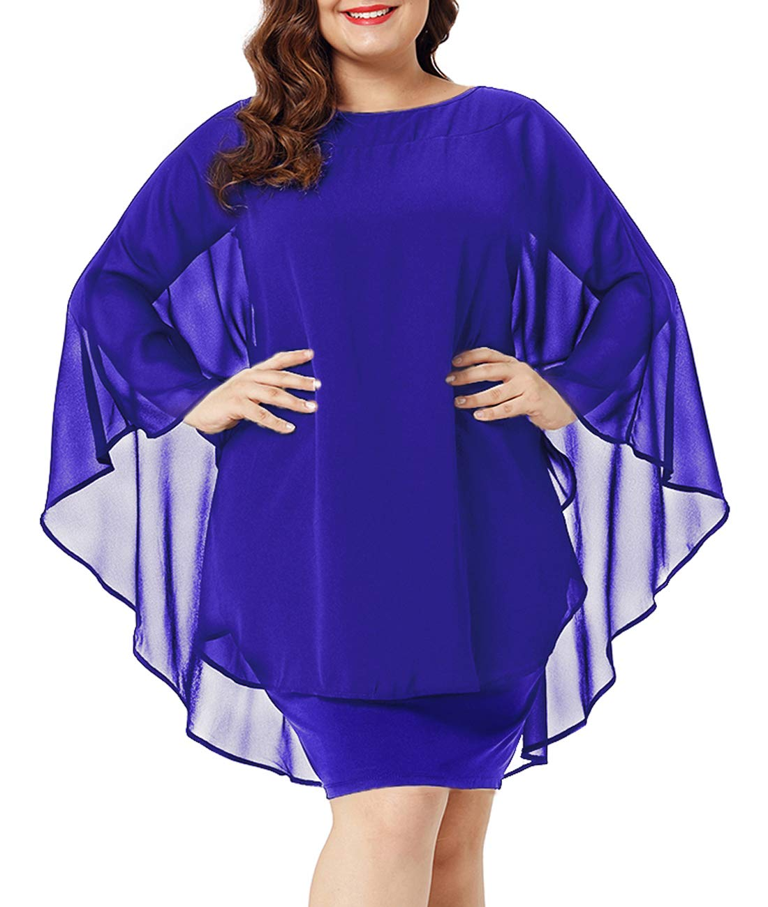 Available at Amazon: Urchics Women's Casual Chiffon Overlay Plus Size Cocktail Party Knee Length Dress