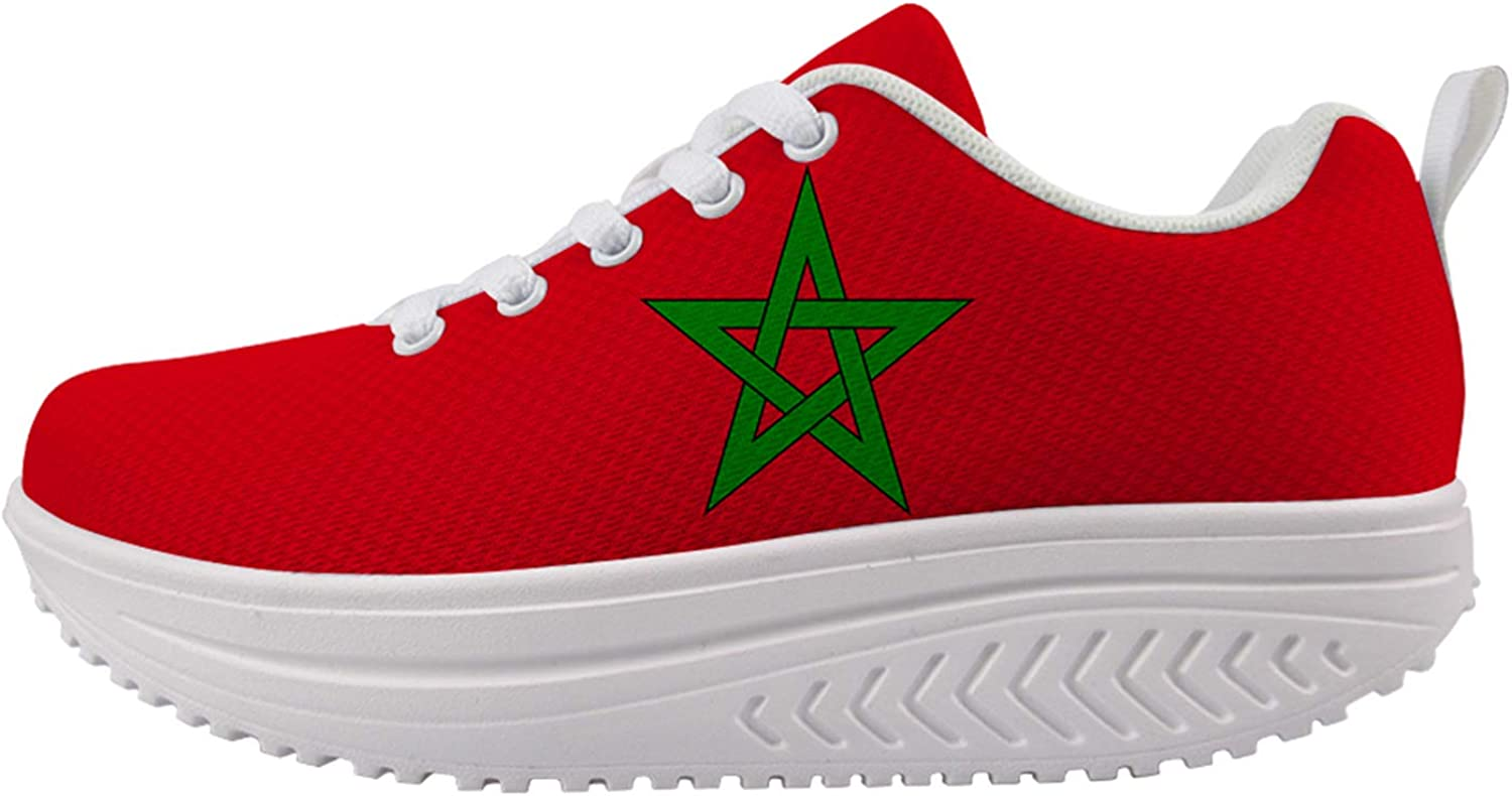 Free Shipping New Owaheson Mail order cheap Morocco Flag Women's Walking Comfort Support Shoes Arch