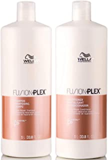 Wella FUSION PLEX Intense Repair Shampoo & Conditioner DUO SET (with Sleek Steel Pin Tail Comb) (33.8 oz / 1 Liter - LARGE DUO Kit)