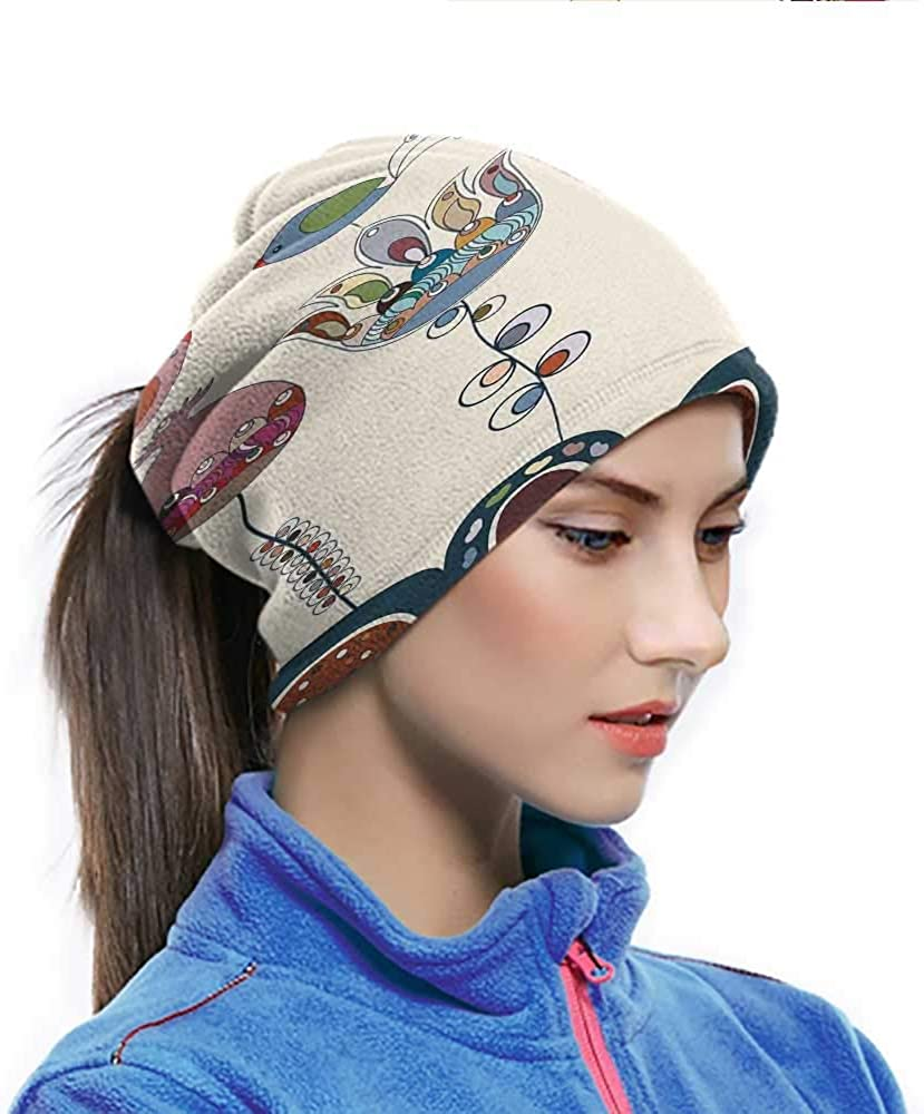 Face Scarf Mask Women Garden Winter Neck Gaiter Stylized Cartooned Cute Landscape with Flowers Birds and Abstract Forms Colorful Multicolor