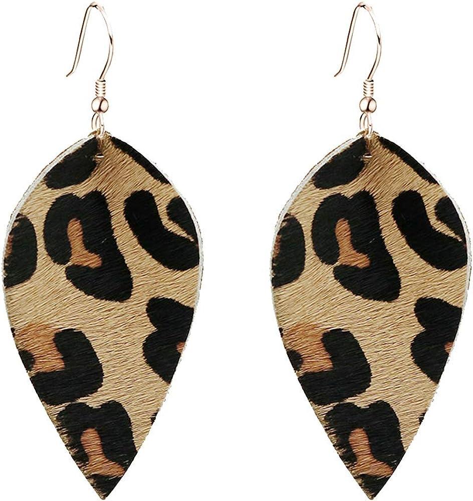 Bridesmaid Earrings Black Leather Earrings Christmas Gift her Leopard Leather Teardrop Earrings Layered Leather Earrings