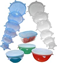 Silicone Stretch Lids 12 Pack, (6pc) Blue and (6pc) Clear Set for Food Storage Various Sizes and Shapes of Containers