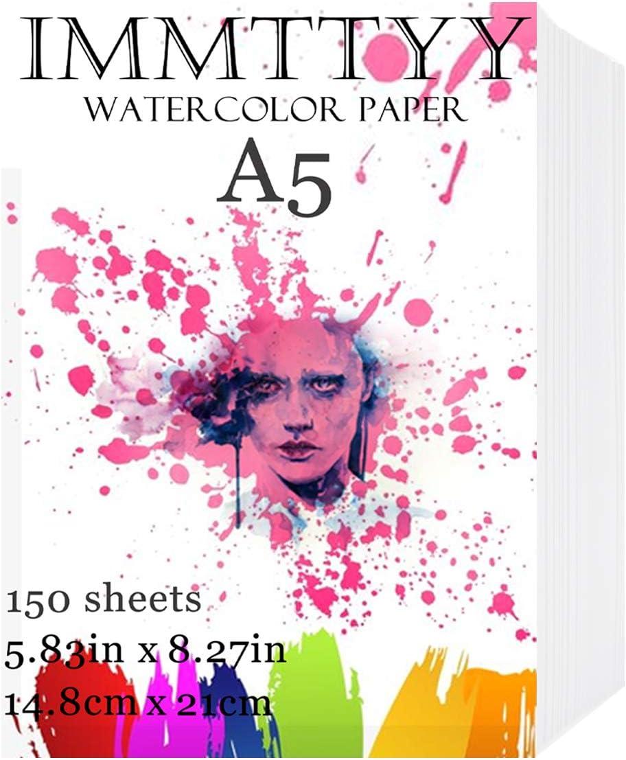 Detroit Mall IMMTTYY 150 Sheets A5 latest Watercolor Paper Oil Acryl Bulk 5.83x8.27