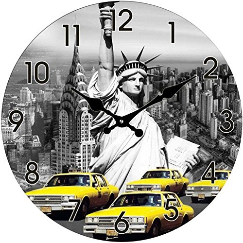 Glas Uhr Amerika Statue of Liberty & New York Taxi Durchmesser 38 cm, Wanduhr im Vintage Look mit Freiheitsstatue Motiv, ausgefallenes Geschenk für USA und Retro Fans