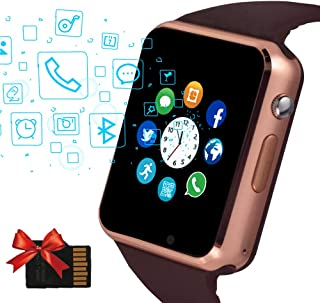 Janker Smart Watch, Bluetooth Smartwatch Android iOS Phone Compatible Unlocked Watch Phone with SIM Card Slot Camera Pedometer Touch Screen Music Player Wrist Watch for Men Women Kids (Land Gold)