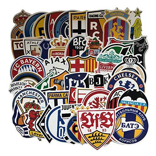 50 x Aufkleber mit Fußballverein-Logo, PVC, wasserdicht, für Skateboard, Gitarre, Reisetasche, Aufkleber, Tür, Laptop, Gepäck, Auto, Fahrrad, Cartoon-Graffiti-Aufkleber