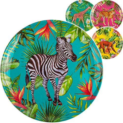 Geschirr - Motivwahl - 4 Stück _ Teller / Speiseteller - Zootiere - Tiere - Ø 20 cm - Abendbrotteller - Frühstücksteller - BPA frei - Melamin / Melaminteller ..