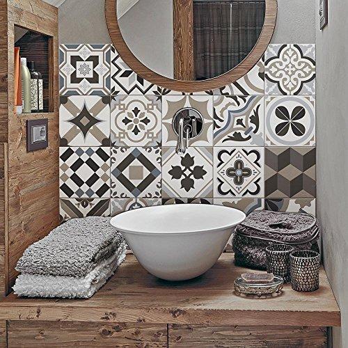 Adhesivo para Azulejos 10x10 cm - PS00089 - Braga - Adhesivo Decorativo para Azulejos para baño y Cocina - Stickers Azulejos - Collage de Azulejos