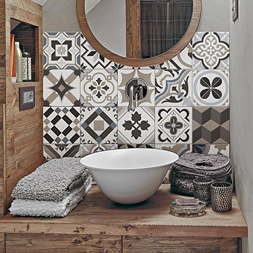 12 Pieces 15x15 cm - PS00089 Adhesivo Decorativo para Azulejos para baño y Cocina Stickers Azulejos - Made in Italy - Stickers Design