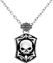 HARLEY-DAVIDSON Mens Steel Willie G Skull Dog Tag Necklace