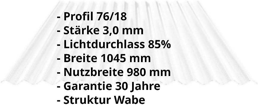 Farbe Glasklar Lichtwellplatte Breite 1045 mm Material Acrylglas St/ärke 3,0 mm Wellplatte Wabenstruktur Lichtplatte Profil 76//18