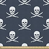 ABAKUHAUS Piratas Tela por Metro, Jolly Roger Patrón, Decorativa para Tapicería y Textiles del Hogar, 2M (148x200cm), Oscuro Azul Blanco
