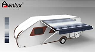 Awnlux RV Patio Awning Vinyl Fabric Replacement for 18 feet Trailer Awning (Fabric Size 17 Feet 2 Inch Blue Stripe Color Waterproof)
