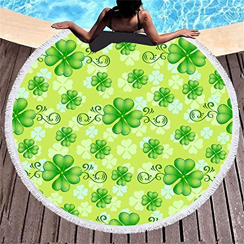 Toalla De Playa Redonda con Estampado De Medusas De Concha, Patrón De Impresión Digital, Alfombra De Playa Absorbente De Secado Rápido De Fibra Ultrafina 150 * 150cm