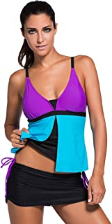 Womens Summer Colorblock Tankini Top and Bottom Set Swimsuit