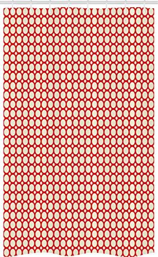 ABAKUHAUS retro Douchegordijn, Grote Kleine Stippen, voor Douchecabine Stoffen Badkamer Decoratie Set met Ophangringen, 120 x 180 cm, Red and Cream