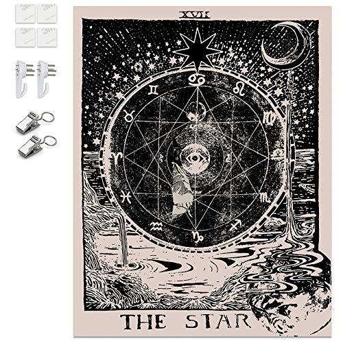 K/B Tapiz de Pared Tarot/Astrología Tapices Grande, Decorativos de Habitación Mística Psicodélica con Herramienta de Instalación Gratuita (Estrella)